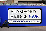 Stamford Bridge sign before the Europa League quarter-final, leg 2 of 2 match between Chelsea and Slavia Prague at Stamford Bridge, London, England on 18 April 2019.