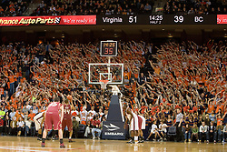 Virginia fans try to distract Boston College center Tyrelle Blair (44) while shooting a free throw.  The Virginia Cavaliers men's basketball team defeated the Boston College Golden Eagles 84-66 at the John Paul Jones Arena in Charlottesville, VA on January 19, 2008.