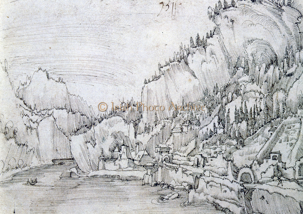 Sarmigstein on the Danube'.  Albrecht Altdorfer (1480-1538) German painter, engraverand  architect: Danube School. Pen and grey ink.
