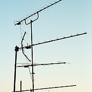The tagus river seen through antennas on the roofs of Bica.