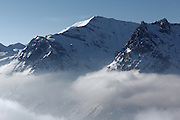 Mountains in the French Alps in the ski area of La Domaine du Balme, above Le Tour, near Chamonix