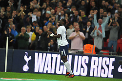 MOUSSA SISSOKO CELEBRATES AFTER SCORING TOTTENHAMS FIRST GOAL,  Tottenham Hotspur  v West Ham United, EFL  Carabao Cup Fourth Round, Wembley Stadium Wednesday 25th October 2017, Score 2-3 <br /> Photo:Mike Capps