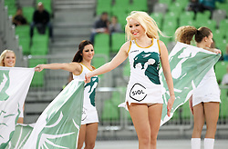 Dragon ladies perform during basketball match between KK Union Olimpija Ljubljana and KK Cibona Zagreb (CRO) in 11th Round of ABA League 2012/13 on December 2, 2012 in Arena Stozice, Ljubljana, Slovenia. (Photo By Vid Ponikvar / Sportida)