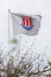 A General View of a Stoke flag flying outside the stadium - Photo mandatory by-line: Rogan Thomson/JMP - 07966 386802 - 01/01/2015 - SPORT - FOOTBALL - Stoke-on-Trent, England - Britannia Stadium - Stoke City v Manchester United - New Year's Day Football - Barclays Premier League.