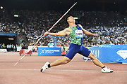 Chao-Tsun Cheng (TAI) places second in the javelin at 292-2 (89.05m) in the IAAF Diamond League final during the Weltkasse Zurich at Letzigrund Stadium, Thursday, Aug. 29, 2019, in Zurich, Switzerland. (Jiro Mochizuki/Image of Sport)