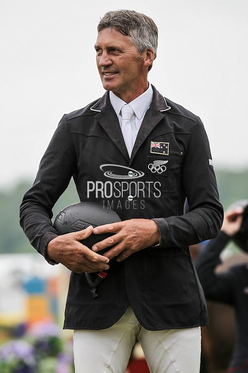 Andrew Nicholson (New Zealand) on the podium having won the Equi-Trek CCI competition at Bramham International Horse Trials 2016 at  at Bramham Park, Bramham, United Kingdom on 12 June 2016. Photo by Mark P Doherty.