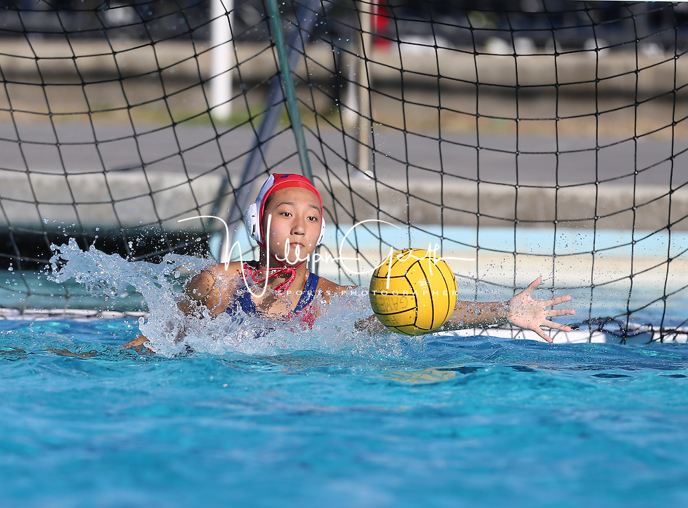 (Photograph by Bill Gerth for SVCN) Saratoga #1 goal keeper Sandy You defends the goal vs Homestead in a SCVAL Girls Water Polo match at Homestead High School, Sunnyvale CA on 10/20/16.  (Homestead 3 Saratoga 2)