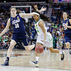 April 7, 2013; New Orleans, LA, USA; Notre Dame Fighting Irish guard Skylar Diggins (4) dribbles against Connecticut Huskies forward Breanna Stewart (30) during the first half in the semifinals during the 2013 NCAA womens Final Four at the New Orleans Arena. Mandatory Credit: Derick E. Hingle-USA TODAY Sports