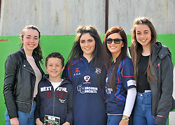 Roisin and Amy Corcoran centre with cousins Chloe, Adam and Megan supporting the Westport Bulls on junior cup final day.<br /> Pic Conor McKeown