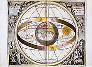 Ptolemaic,  Geocentric Earth-centred, system of universe, showing position of Sun, Moon and planets and band of the ecliptic. From Andreas Cellarius 'Harmonia Macrocosmica' Amsterdam, 1708.