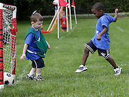 Middletown, New York - A boy scores a goal during a soccer program at the Middletown YMCA on May 28, 2011.