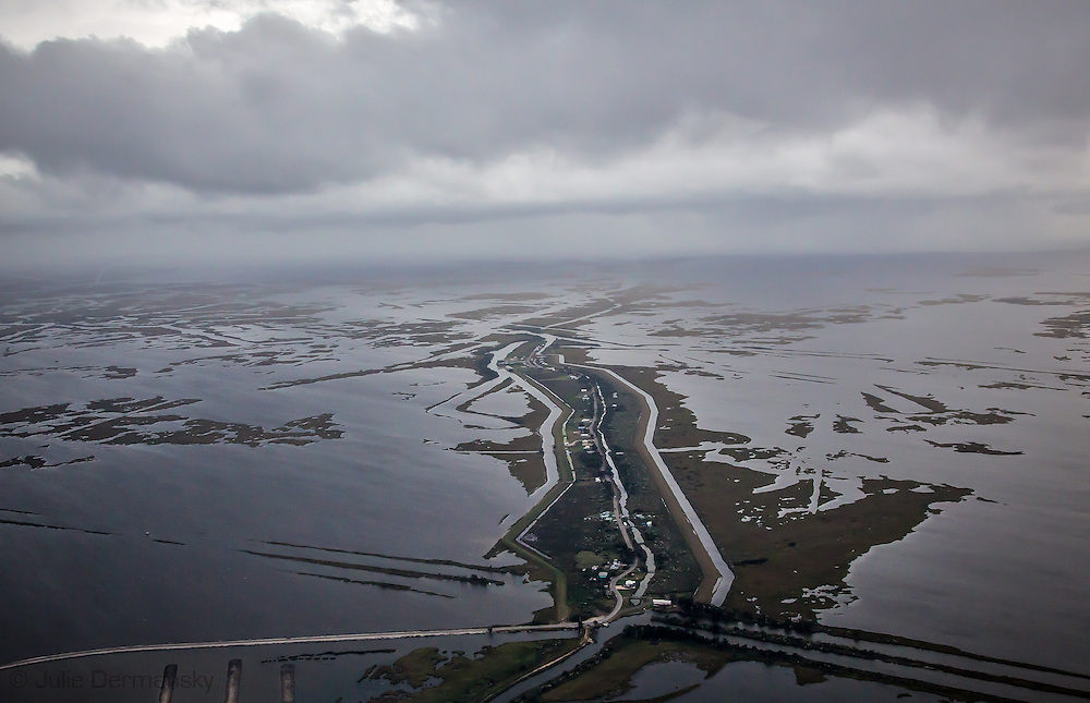 Aerial view of Island Road leading to Isle De Jean Charles , in Terrebonne Parish, Louisiana.