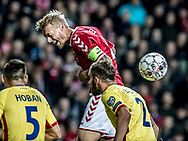 FOOTBALL: Simon Kjær (Denmark) heads for goal during the World Cup 2018 UEFA Qualifier Group E match between Denmark and Romania at Parken Stadium on October 8, 2017 in Copenhagen, Denmark. Photo by: Claus Birch / ClausBirch.dk.