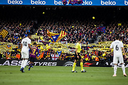 October 28, 2018 - Barcelona, Catalonia, Spain - Pro Catalan Independence symbols and flags claiming freedom for political prisoners during the Spanish championship La Liga football match ''El Classico'' between FC Barcelona and Real Sociedad on October 28, 2018 at Camp Nou stadium in Barcelona, Spain. (Credit Image: © Xavier Bonilla/NurPhoto via ZUMA Press)