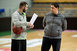 Saso Filipovski (R), head coach of basketball club Stelmet BC Zielona Gora (POL) and his assistant coach during practice session of his team, on January 21, 2016 in CRS Hala Zielona Góra, Zielona Gora, Poland. Photo by Vid Ponikvar / Sportida