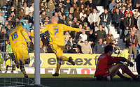 Photo: Ashley Pickering.<br />Southend United v Leicester City. Coca Cola Championship. 03/03/2007.<br />Iain Hume of Leicester (7) celebrates his second goal (1-2)