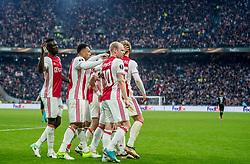 03-05-2017 NED: UEFA Europa Cup AFC Ajax - Olympique Lyonnais, Amsterdam<br /> Ajax heeft zich in de Arena een geweldige uitgangspositie verworven om voor het eerst in 21 jaar een Europese finale te halen. De Amsterdammers wisten Olympique Lyonnais in de eerste halve finale van de Europa League met 4-1 te verslaan Bertrand Traoré #9, Kenny Tete #2, Davy Klaassen #10