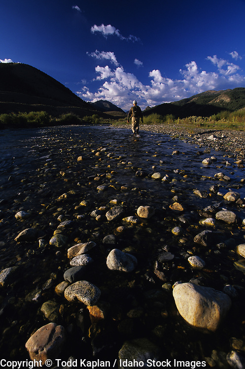 Idaho, Lost River, man fly fishing in Copper Basin in the fall.