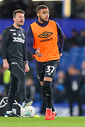 Derby County defender Jayden Bogle (37) warms up prior to the EFL Cup 4th round match between Chelsea and Derby County at Stamford Bridge, London, England on 31 October 2018.