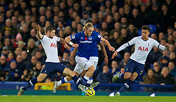 LIVERPOOL, ENGLAND - Sunday, November 3, 2019: Tottenham Hotspur's Ben Davies (L) tackles Tom Davies (C)during the FA Premier League match between Everton FC and Tottenham Hotspur FC at Goodison Park. (Pic by David Rawcliffe/Propaganda)