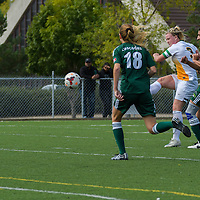 5th year defender Kayla McDonald (3) of the Regina Cougars with a shot on goal during the Women's Soccer Homeopener on September 10 at U of R Field. Credit: Arthur Ward/Arthur Images