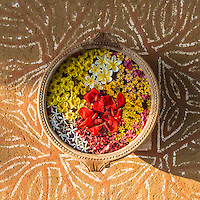 Looking directly down at a pot filled with water with flowers floating atop the water with a painted floor below. Manvar Resort, Rajasthan, India