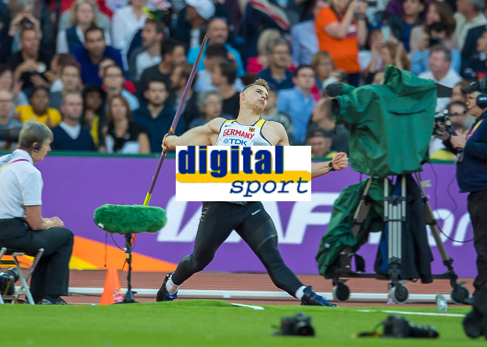 Athletics - 2017 IAAF London World Athletics Championships - Day Seven, Evening Session<br /> <br /> Mens Javelin Qualifying <br /> <br /> Johannes Vetter (Germany) qualifies on his first attempt with a throw of 91.20m at the London Stadium<br /> <br /> COLORSPORT/DANIEL BEARHAM