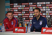 England Midfielder Wayne Rooney (Captain) and England Caretaker Manager Gareth Southgate during the England Press Conference at Stadion Stozce , Ljubljana, Slovenia on 10 October 2016. Photo by Phil Duncan.