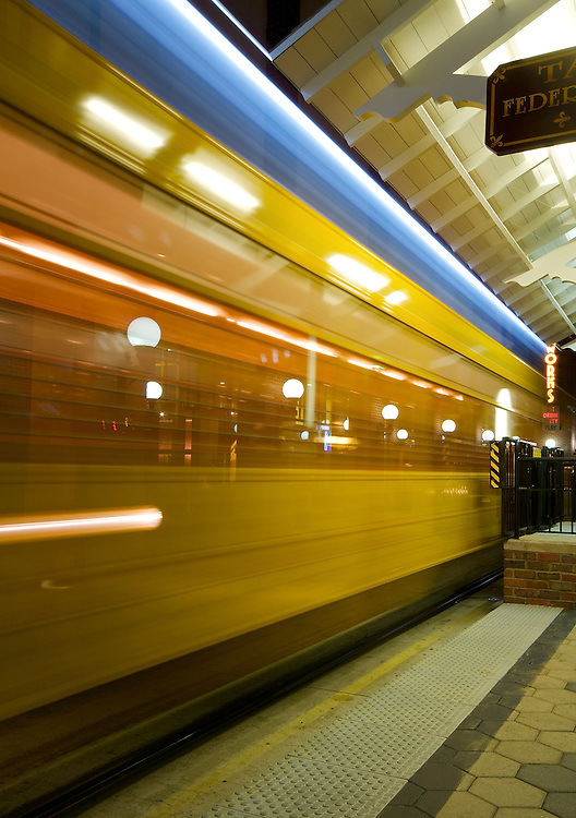 Trolley passing by a sation in Ybor City, Tampa, Florida, UISA.