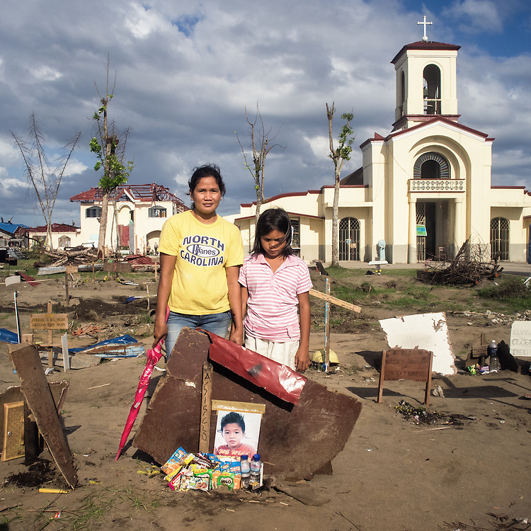 Armie (Mother) and Nina (10, cousin) visit Asislco's (10) grave at San Joaquin Church.