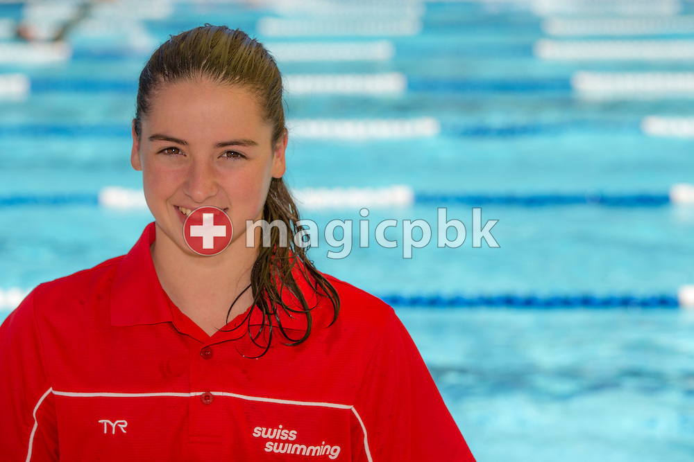 Lisa MAMIE of Switzerland poses for a portrait photo during the Swiss Swimming Junior and Youth Championships held at the 50m outdoor pool in Schaffhausen, Switzerland, Friday, July 18, 2014. (Photo by Patrick B. Kraemer / MAGICPBK)