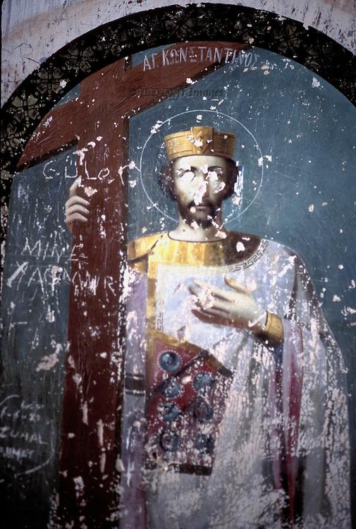 Defaced fresco of St. Constantine in a Greek Orthodox ruined church in Ayvalik