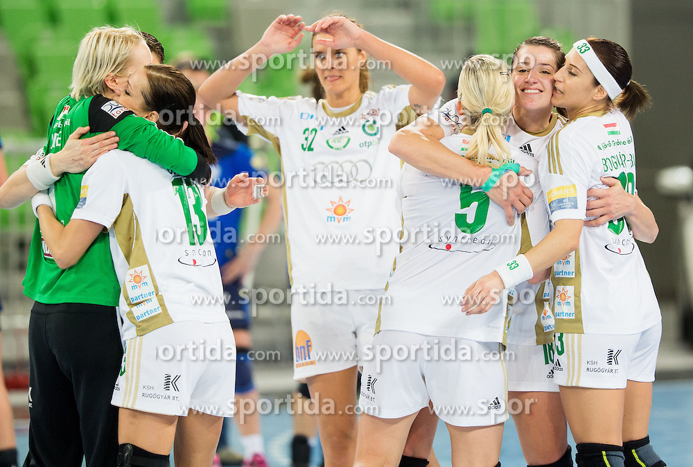 Players of Gyori celebrate after winning during the handball match between RK Krim Mercator (SLO) and Gyori Audi ETO KC (HUN) in 4th Round of Main Round of  Women's EHF Champions League 2013/14 on March 1, 2014 in Arena Stozice, Ljubljana, Slovenia. Photo by Vid Ponikvar / Sportida