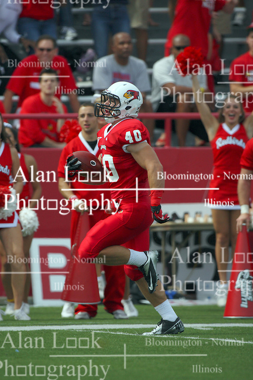 15 September 2012:  Alex Donnelly sprints for the end zone and makes it during an NCAA football game between the Eastern Illinois Panthers and the Illinois State Redbirds at Hancock Stadium in Normal IL