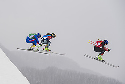 February 23, 2018 - Pyeongchang, SOUTH KOREA - 180223 Marielle Berger Sabbatel of France, Reina Umehara of Japan and Fanny Smith of Switzerland competes in the Women's Freestyle Skicross 1/8 Final during day fourteen of the 2018 Winter Olympics on February 23, 2018 in Pyeongchang..Photo: Joel Marklund / BILDBYRÃ…N / kod JM / 87646 (Credit Image: © Joel Marklund/Bildbyran via ZUMA Press)