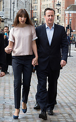 David Cameron and his wife Samantha voting this morning. The Prime Minister David Cameron and his wife Samantha Cameron leaving the polling station early this morning for voting in the European Elections at Central Hall, Westminster, London, United Kingdom. Thursday, 22nd May 2014. Picture by Daniel Leal-Olivas / i-Images