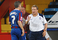 Neil Warnock (Manager) congratulaes Darren Ambrose (Palace) on scoring  his  two goals. Crystal Palace v Torquay United 11/08/2009 Carling League Cup  Credit : Colorsport / Andrew Cowie