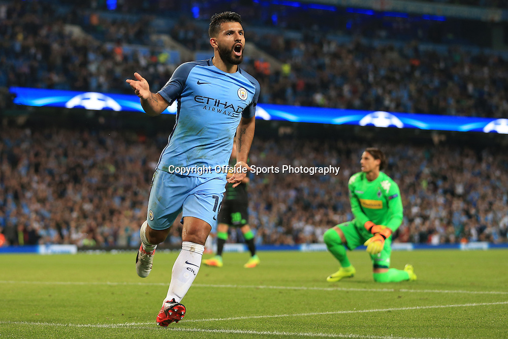 14th September 2016 - UEFA Champions League - Group C - Manchester City v Borussia Monchengladbach - Sergio Aguero of Man City celebrates after scoring their 3rd goal - Photo: Simon Stacpoole / Offside.
