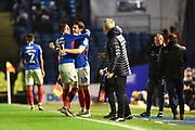 Substitution - Ronan Curtis (11) of Portsmouth is replaced by John Marquis (10) of Portsmouth during the EFL Sky Bet League 1 match between Portsmouth and Wycombe Wanderers at Fratton Park, Portsmouth, England on 26 December 2019.