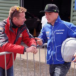 British Superbikes, Knockhill, 14-06-2013<br /> <br /> Honda Touring car champ Gordon Shedden with Honda's Alex Lowes<br /> <br /> (c) David Wardle | StockPix.eu