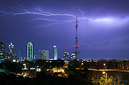Lightning strike over Dallas skyline ** High Resolution Images Available By Request or on my website geckoart.net **