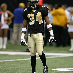 2007 October, 21: New Orleans Saints cornerback Mike McKenzie (34) during a 22-16 win by the New Orleans Saints over the Atlanta Falcons at the Louisiana Superdome in New Orleans, LA.