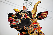 Apr. 25 -- UBUD, BALI, INDONESIA:  The head of the bull at the funeral for Cokorde Gede Raka, a member of Ubud's royal family Sunday, Apr. 25. Balinese are Hindus and cremate their dead. Balinese funerals are elaborate - and expensive - affairs. A funeral for one person costs a minimum of 45 million rupiah (about $5,000 US). The body is placed into the bull's body at the cremation and cremated in the bull. The funeral pyre is burnt adjacent to the bull. That is what a family may earn in two to three years. The result is that only the rich can afford formal cremations. The body (in the casket) is placed in the top of the funeral pyre and the procession takes the body to the cremation site. The funeral pyre, and the body, are spun at intersections to confuse the spirits so the soul doesn't try to return to its home and to confuse evil spirits. PHOTO BY JACK KURTZ
