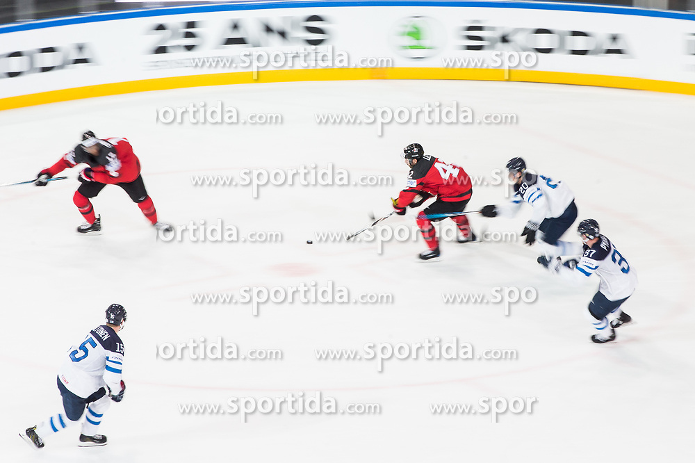 Chris Lee of Canada vs Sebastian Aho of Finland during the 2017 IIHF Men's World Championship group B Ice hockey match between National Teams of Canada and Finland, on May 16, 2017 in AccorHotels Arena in Paris, France. Photo by Vid Ponikvar / Sportida
