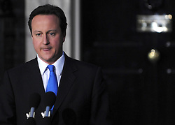 © under license to London News Pictures. LONDON. 05/05/2011. One year on since the last General Election. FILE PICTURE DATED.11/05/10. David Cameron moments before he makes a speech telling the media he has accepted Queen Elizabeth II's invitation to form a new Government. British Prime Minister Gordon Brown has resigned his position and David Cameron has become the new British Prime Minister on May 11, 2010. The Conservative and Liberal Democrats are to form a coalition government after five days of negotiation. Photo credit should read Stephen Simpson/LNP