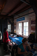 Cambridge. MA. USA. Press Centre office inside Cambridge Boathouse,  Head of the Charles. <br /> <br /> Saturday  19/10/2013 <br /> <br /> [Mandatory Credit. Peter SPURRIER /Intersport Images]