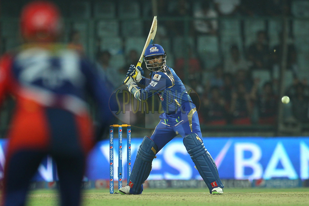 Harbhajan Singh of the Mumbai Indians bats during match 21 of the Pepsi IPL 2015 (Indian Premier League) between The Delhi Daredevils and The Mumbai Indians held at the Ferozeshah Kotla stadium in Delhi, India on the 23rd April 2015.<br /> <br /> Photo by:  Deepak Malik / SPORTZPICS / IPL