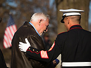 22 NOVEMBER 2019 - DES MOINES, IOWA: A member of the US Marine Corps Honor Guard comforts a family member of US Marine Reserve Corps Private Channing Whitaker during the reinterment service for Whitaker. Whitaker died in the Battle of Tarawa on Nov. 22, 1943. He was buried on Betio Island, in the Gilbert Islands, and his remains were recovered in March 2019. He was identified by a DNA match with surviving family members in Iowa. Whitaker was reintered in the Glendale Cemetery in Des Moines exactly 76 years after his death in World War Two. About 1,000 US Marines and sailers were killed in four days during the Battle of Tarawa.            PHOTO BY JACK KURTZ