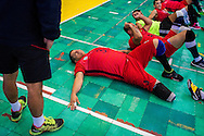 2016/06/07 &ndash; Bogotá, Colombia: Jonathan Fontes, 35, relaxes after a training session at the High Performance Complex, Bogotá, 7th June 2016.<br /> -<br /> Jonathan is a retired soldier of the Colombian army. In 2012, he stepped on an anti-personnel mine during a routine round in the Caqueta department, losing his right leg. At the beginning the process of recuperation was difficult, since he felt he was totally dependent on others. <br /> At first he started to focus on weightlifting sports, but found he was too tall. He was recommend to try seated volleyball, a sport that until then was unknown to him. Nowadays, he is the Captain of the Colombian team. The dream is to arrive to the Rio 2016 Paralympic games, but the national team only started to play the sport for the first time in 2011. <br /> The Colombian Volleyball net team finished 4th in the Pan-American Games of Toronto in 2015. Unfortunately they needed to have finished 2nd in order to qualify for a spot on this year Paralympics. Jonathan believes it still isn&rsquo;t the right time and that they have much more to learn. Instead they aim to work hard and be on the next Paralympics in Tokyo 2020. (Eduardo Leal)