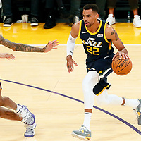 10 October 2017: Utah Jazz forward Thabo Sefolosha (22) drives past Los Angeles Lakers forward Brandon Ingram (14) during the Utah Jazz 105-99 victory over the LA Lakers, at the Staples Center, Los Angeles, California, USA.